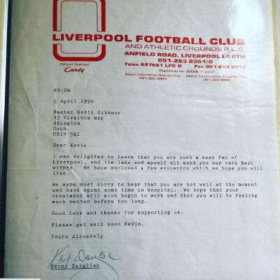 Letter from Sir Kenny Dalglish to Kevin Gibbons